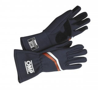 OMP Vintage Race Gloves Navy Blue -0