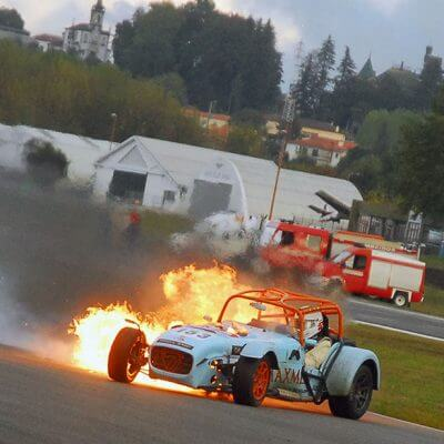 historica car on fire